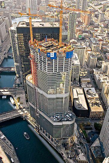 Trump International Hotel & Tower, Chicago, SAD - tlocrt ovog impozantnog kompleksa postupno se sužava cijelom visinom u četiri koraka: na 65 m, 121 m, 201 m i 338 m visine.