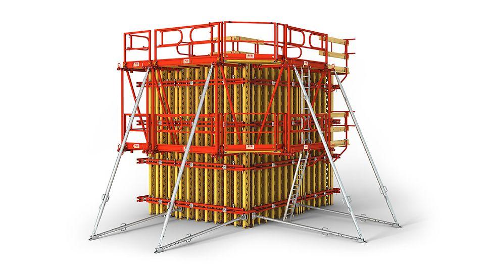 Гнучка балочно-ригельна опалубка стін, в тому числі для високоякісної поверхні бетону.