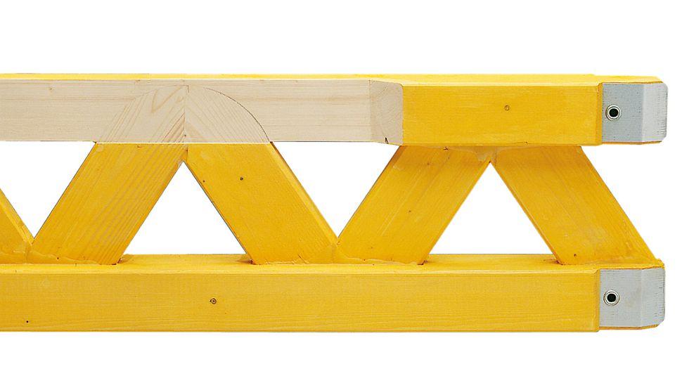 Ξυλοδοκός GT 24: τα δικτυώματα εισέρχονται στον κύριο κορμό της ξυλοδοκού σε όλο το μήκος της διατομής. Πρακτικά δεν υπάρχουν σημεία που συγκρατούν υγρασία.