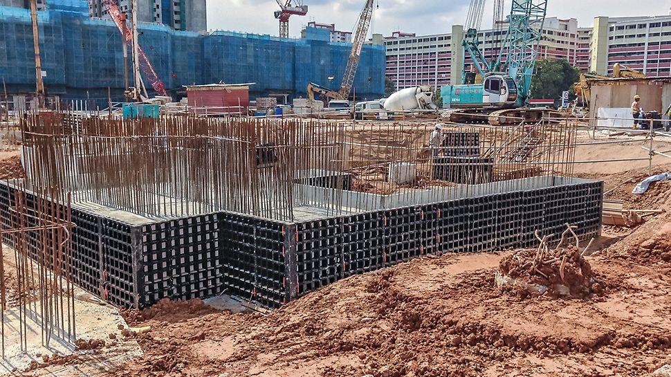Grazie alle dimensioni e alla maneggevolezza degli elementi a telaio, il sistema DUO è ideale anche per la realizzazione delle fondazioni.