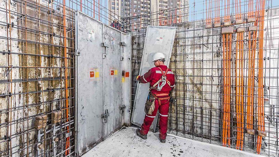 Systém bednění UNO: Všechny panely bednění UNO jsou hliníkové a velmi lehké; pro montáž na stavbě není potřebný jeřáb.