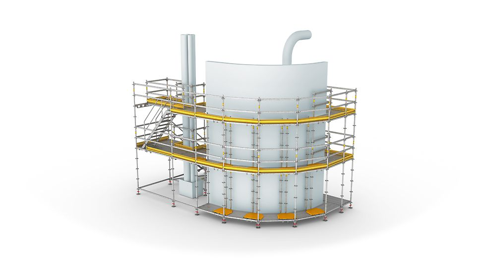 Mit PERI UP Flex werden sichere Arbeitsplattformen in jeder Höhe hergestellt. Mit dem durchgängig metrischen Systemraster aller Bauteile und der Möglichkeit des Richtungswechsels der Beläge ist das Modulgerüst optimal anpassungsfähig für nahezu beliebige örtliche Gegebenheiten.