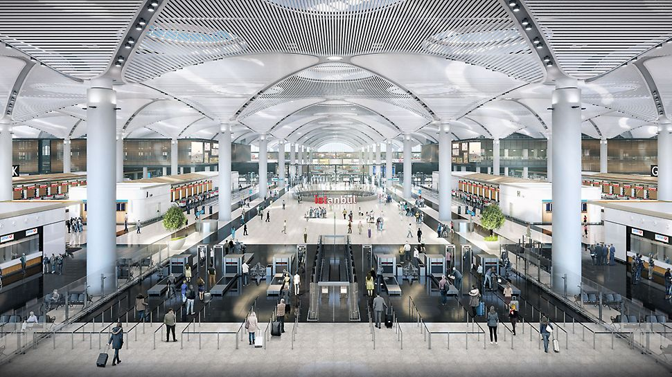 Der Istanbul Airport bietet Platz für 90 Mio. Passagiere jährlich. Insgesamt 13 verschiedene Bauunternehmen haben mit PERI Systemen zur Fertigstellung beigetragen. (Foto: İGA Havalimanları İnşaatı Adi Ortaklığı Ticari İşletmesi)