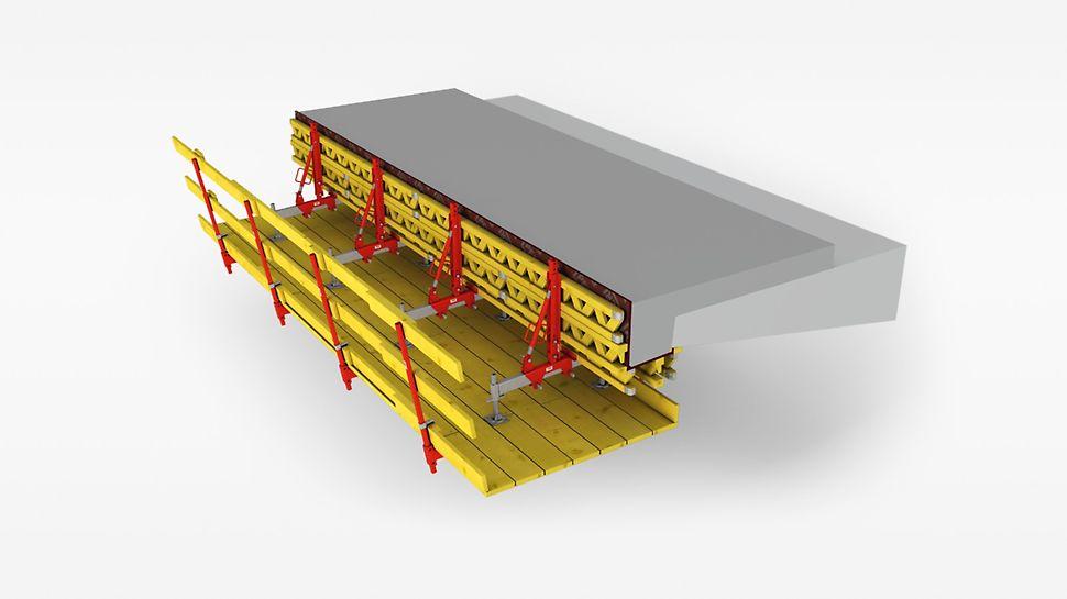 Speziell für kurze Brücken und Sanierungen ist die VARIOKIT Gesimskappenkonsole mit einer geschlossenen Bühne eine sichere und saubere Lösung.