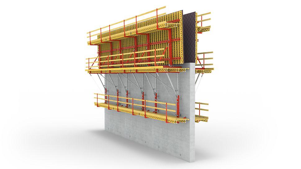 Pri systéme PERI SCS je zaťaženie spôsobené tlakom betónu na debnenie bez tiahiel prenášané konzolami do kotiev zabetónovaných v predchádzajúcom zábere.