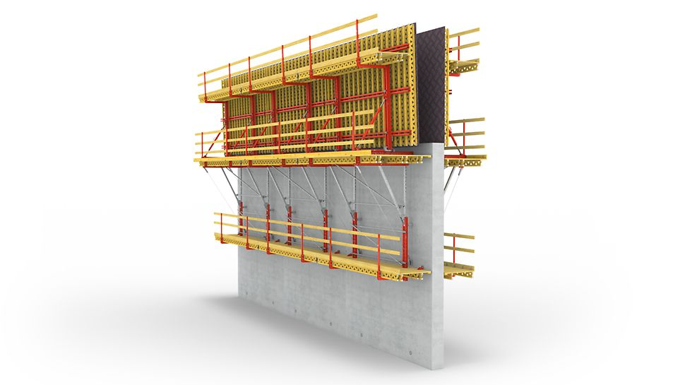 Kod PERI SCS penjajućeg sistema opterećenje sveže betonske mase prenosi se, bez korišćenja ankera, preko konzola na penjajući anker prethodno izbetoniranog takta.