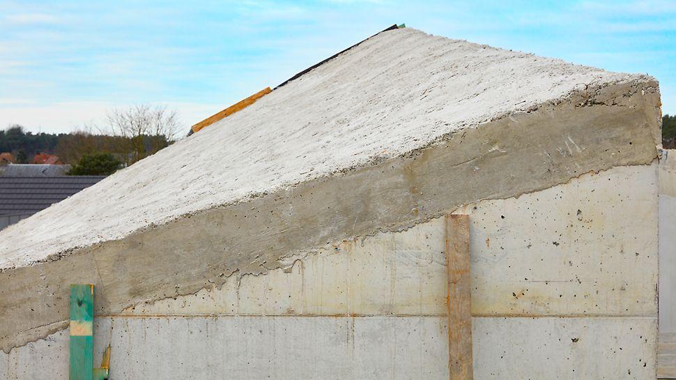 Le coulage du toit incliné avec torsion complexe nécessitait une solution de coffrage très ingénieuse. PERI s'en est chargé avec brio.