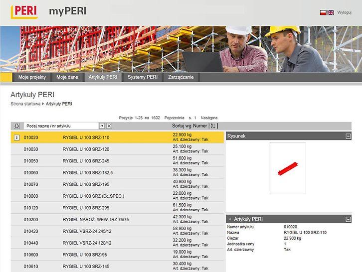 Portal stanowi obszerną bazę danych na temat wszystkich produktów PERI. Rysunki przedstawiające poszczególne artykuły pozwalają na łatwą i szybką identyfikację elementów na budowie.