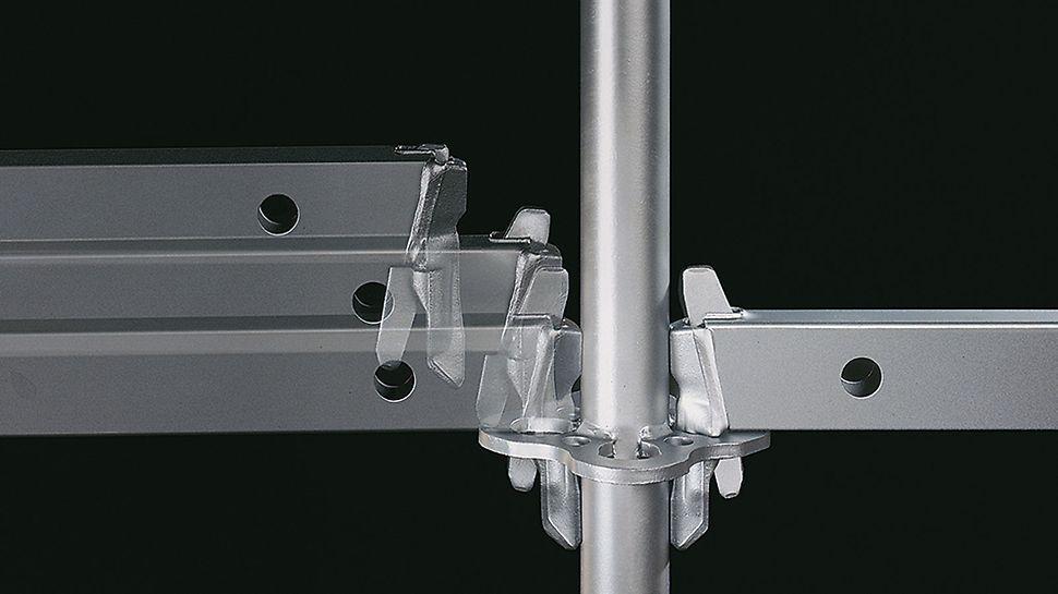 """""""Gravity Lock"""" samoosiguravajući priključak profila omogućava brzu montažu modularne skele: prilikom montaže profila, pod dejstvom sile zemljine teže, kiln upada u otvor rozetne i zatvara se."""