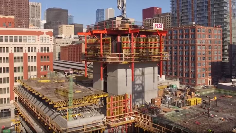 ACS Core 400 Reference Project for moving large-sized core formwork core including concrete placing boom and site equipment