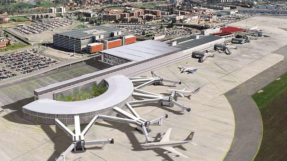 Letiště Toulouse-Blagnac: V odbavovací hale D s plochou 40 000 m2 se nachází 24 odbavovacích přepážek a 13 odletových nástupišť.