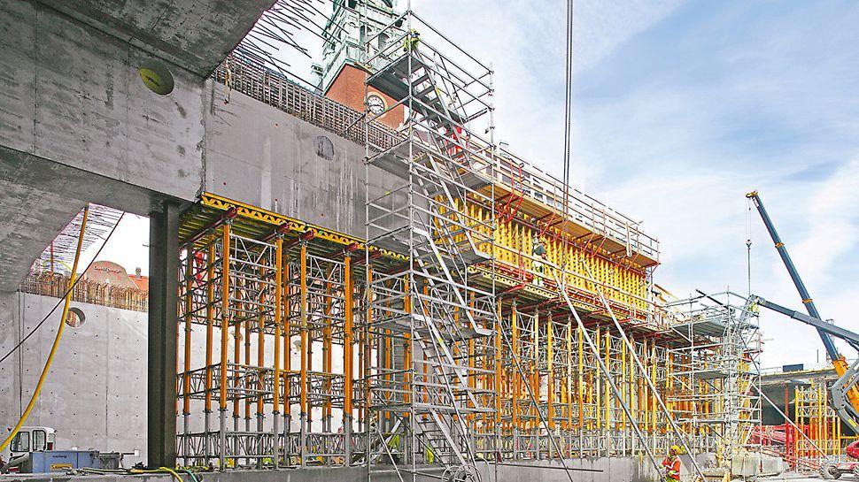 Gradski tunel Malmö, Švedska - ST 100 složivi tornjevi i MULTIPROP stropni podupirači čine nosivu donju konstrukciju između središnjih stupova koja se brzo montira.