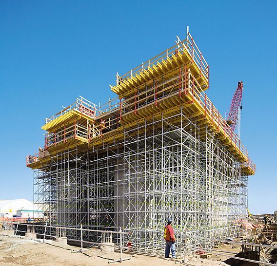 PERI UP Rosett Flex Shoring: Thanks to the modular design, the scaffold can be opimally adapted to suit all loads.