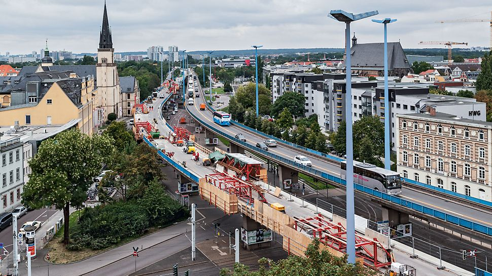 Franckeplatz Elevated Road Bridge, Halle/Saale, Germany | Parapet refurbishment with the VGW Franckeplatz Elevated Road Bridge, Halle/Saale, Tyskland| Renovasjon av kantdrager med VGW