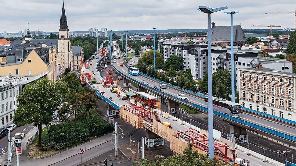 Hochstraßenbrücke Franckeplatz, Halle/Saale | Kappensanierung mit dem VGW