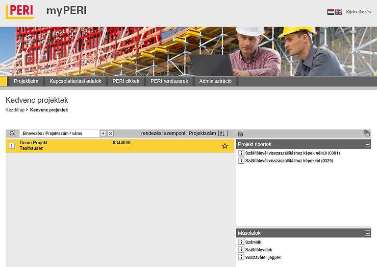 A myPERI program felülete áttekintést nyújt az építési projektekről
