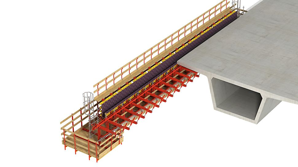 For the construction and refurbishment of cantilevered parapets at the edge of bridges and between the superstructures