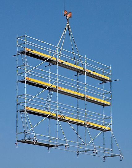 PERI UP Rosett Reinforcement: A complete reinforcement scaffolding unit with a length of 9.00 m, standing height of 6.30 m and a 72 cm working width can be moved with one crane lift. PERI UP Flex Armeringsstillas En komplett armeringsstillas med en lengde på 9,0m og en plattformhøyde på 6,3m og en arbeidsbredde på 75cm kan flyttes i sin helhet med kran.  PERI stillas reis dekke