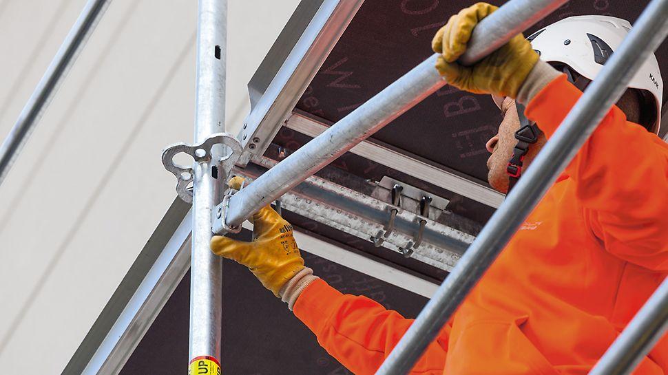 Instalación rápida de los tirantes: Después de insertar la cabeza giratoria en el orificio longitudinal, el tirante se empuja hacia abajo y queda asegurado en su posición con el anillo de bloqueo.