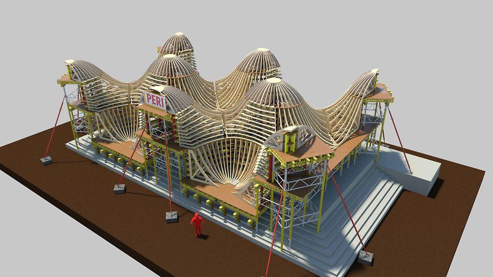 Bosjes Chapel - Die 3D-Simulation von PERI visualisiert die gesamte Schalungslösung.