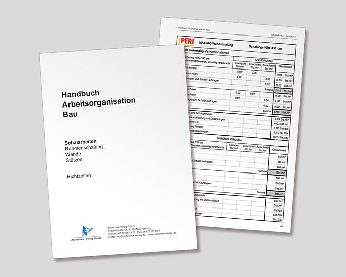 """""""En noviembre de 2013, se publicó la sección totalmente revisada """"Encofrado, Paneles de Encofrado para Muros y Pilares"""", que forma parte del manual """"Arbeitsorganisation Bau"""" de Asociación Alemana de Empresas de la construcción. (Imagen: ztv Zeittechnik-Verlag GmbH)"""