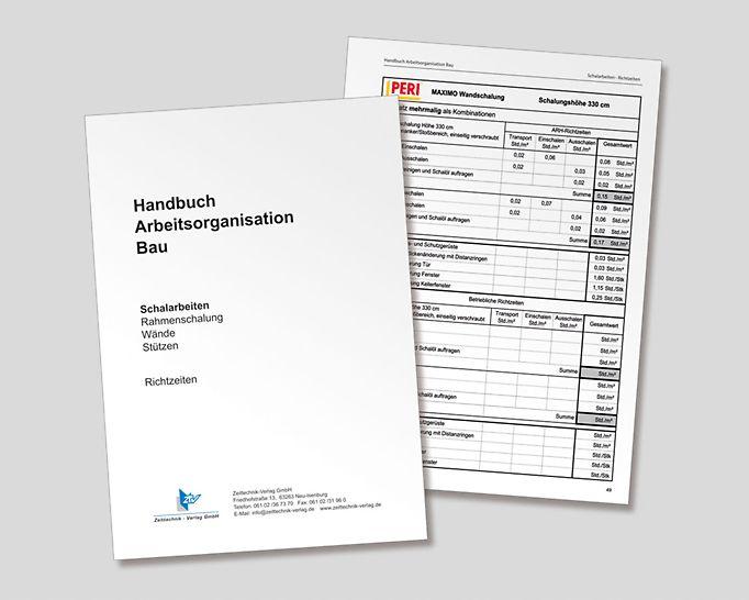 """En noviembre de 2013 apareció la actualización de la parte """"Trabajos de encofrado – encofrado modular muros pilares"""" del Manual de organización de trabajo Construcción (ISBN 978-3-939216-15-5). (Gráfica: ztv Zeittechnik-Verlag GmbH)"""