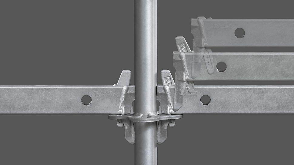 """Rygiel """"Gravity Lock"""" umożliwia szybki montaż rusztowania modułowego. Podczas osadzania głowicy rygla w rozetę klin samoczynnie opada w otwór rozety i blokuje się."""