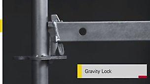 Gedetailleerde aanzichten van het zelfvergrendelende slot, de zelfvergrendelende antislipvloeren en andere tijdbesparende en veiligheidsverhogende functies.