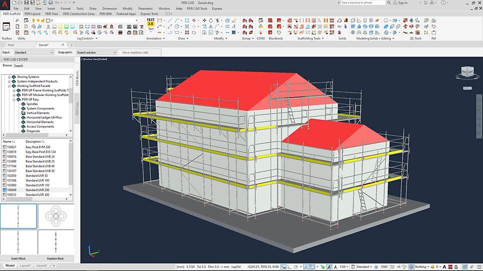 Mit PERI CAD können Fassadengerüste von PERI automatisch erstellt werden.