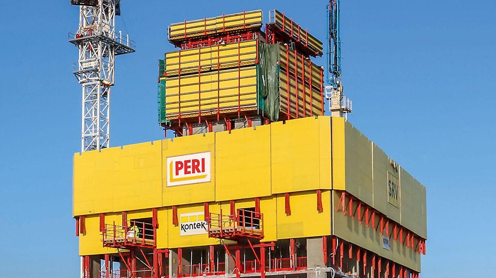Završne platforme, sastavljene od standardnih sistemskih komponenata, služile su za privremeno odlaganje materijala i prenos opterećenja na sledeće etaže. Platforme su mogle varijabilno da se pozicioniraju na bilo koji deo objekta.