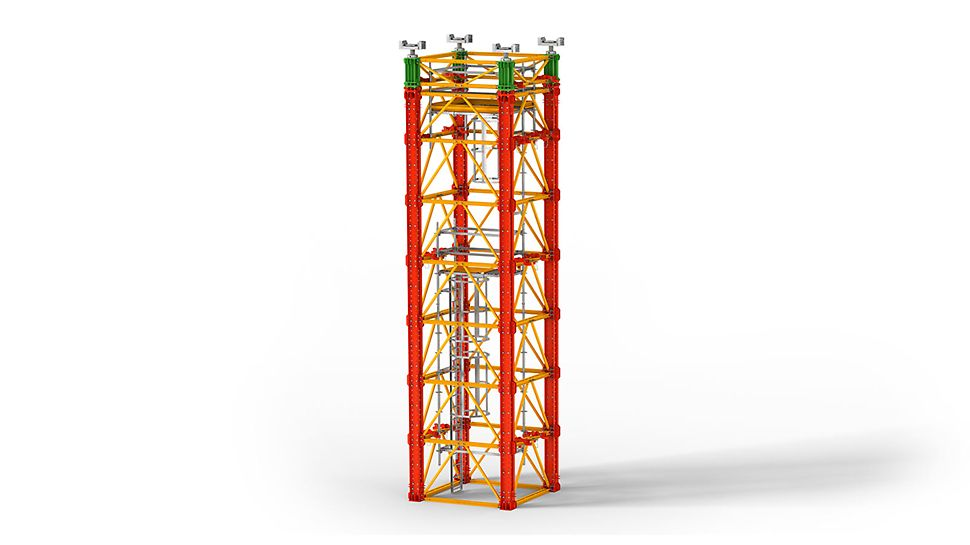Nehézállvány rendszer nagy terhekhez hídépítésénél, valamint speciális alkalmazásokhoz, ipari építkezéseken