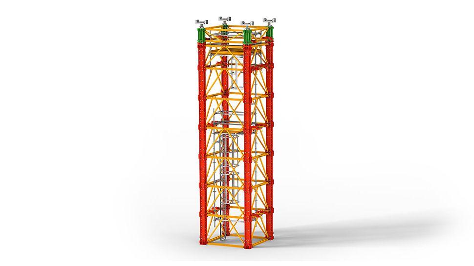 System rusztowań podporowych dla bardzo dużych obciążeń w budownictwie mostowym i do zastosowań specjalnych w budownictwie inżynieryjnym