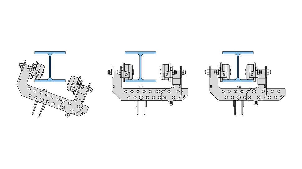 Für den Einbau lässt sich der bewegliche Arm der Laufkatze verschieben. Der Abstand der Rollen ist an den Stahlträger anpassbar und wird mit einem Bolzen gesichert.