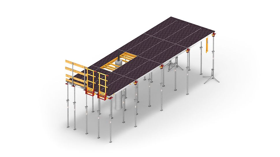 The multifunctional, aluminium and polymer-based SKYMAX slab formwork system offers a wide range of adaptable combination options.
