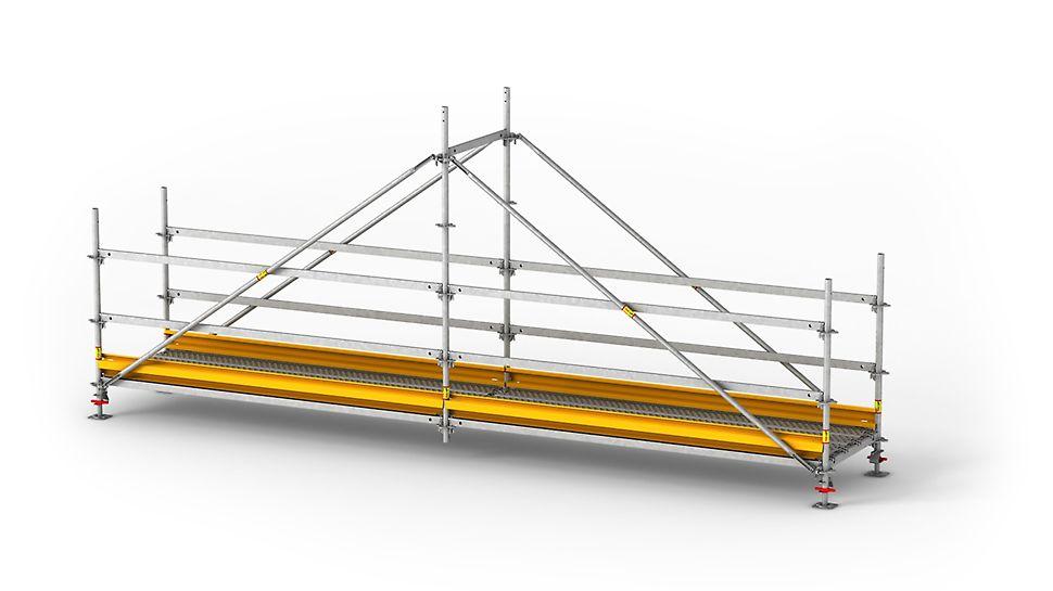 Vorteile ◾Schnelle Montage mit Standardbauteilen des Baukastensystems PERI UP Flex. ◾Beläge sind mit integrierter Belagssicherung versehen und haben eine rutschsichere gelochte Oberfläche. ◾Bordbleche entlang der Brücke sorgen für Sicherheit auf der Grabenbrücke. ◾Die Grabenbrücke ist kranversetzbar. ◾Der PERI UP Gravity Lock erlaubt eine leichte und sichere Montage. Beim Einlegen des Keilkopfes in die Rosette fällt der Keil durch die Schwerkraft in das Loch und verriegelt.
