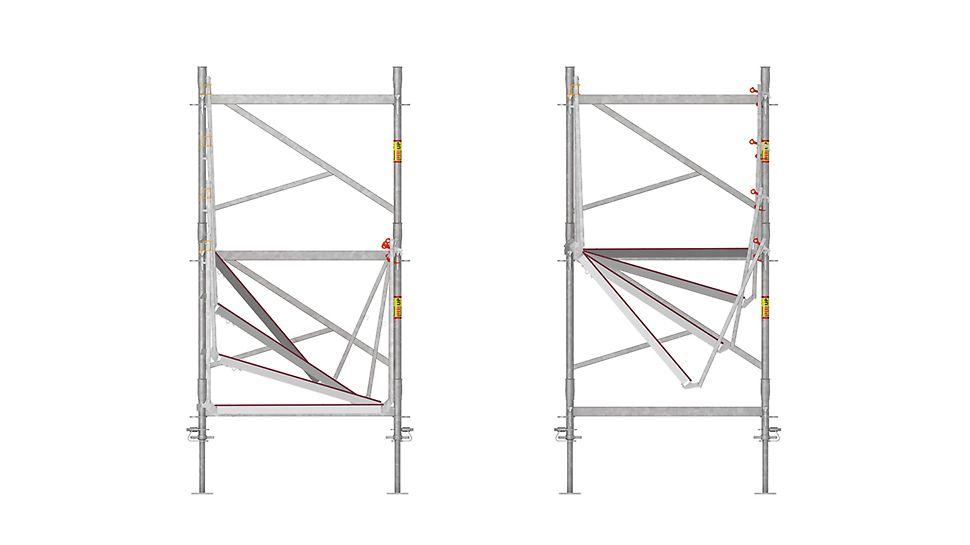 durch die spezifische Bauweise mit Belagtafeln und umlaufenden Geländern