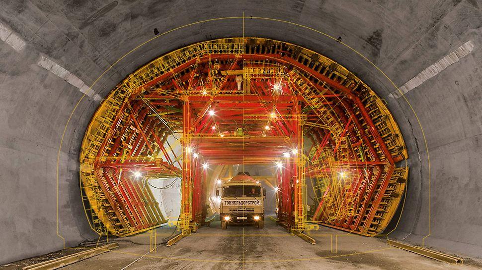 Tunnelschalung mit dem VARIOKIT Ingenieurbaukasten und CAD Zeichnung