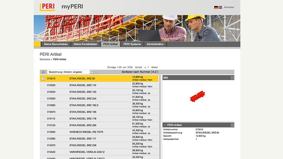 myPERI Oberfläche - Produkte, dreidimensional mit exakter Artikelbezeichnung und Gewicht