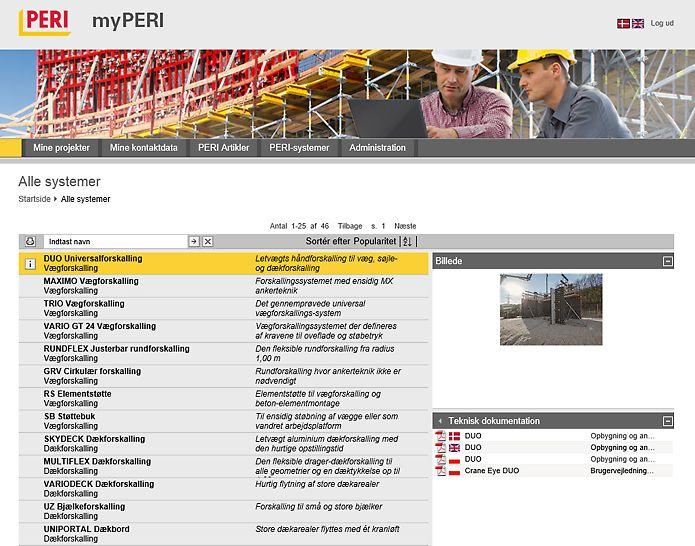 myPERI - PERI systemoversigt