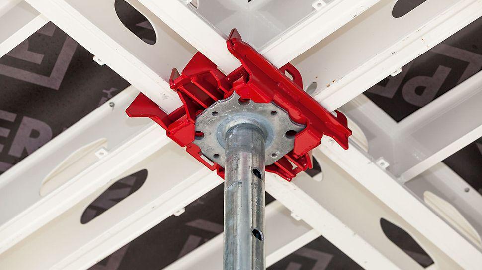 Støttehovedet leveres i såvel stål som i økonomisk polymerdesign. Det kan monteres på støtten med kviklås.