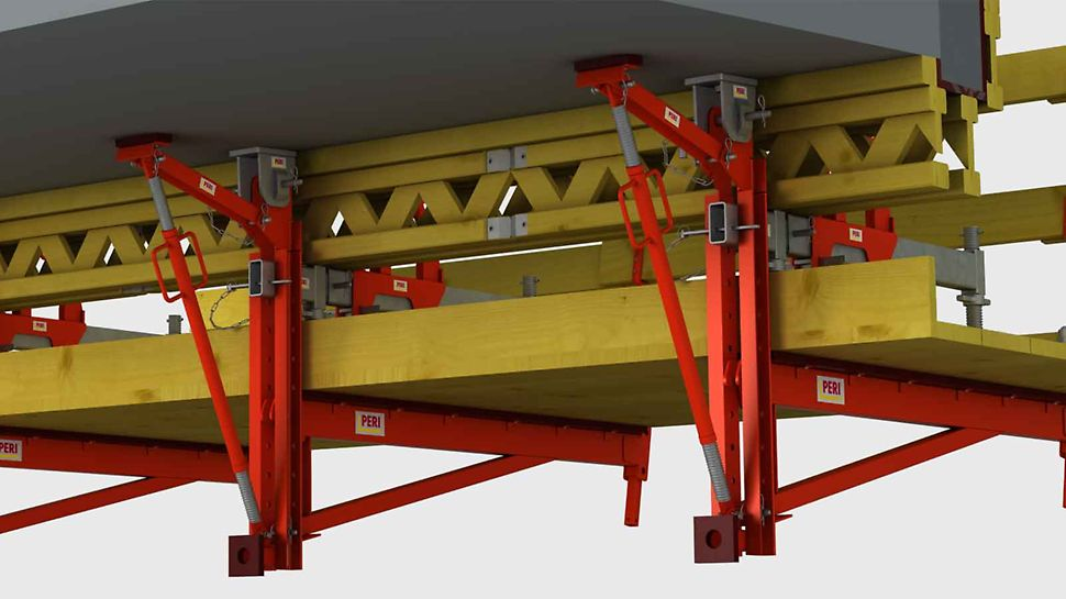 After the initial assembly of the PERI VGK Cantilevered Parapet Bracket, access by means of an elevating work platform or scaffolding is not necessary.