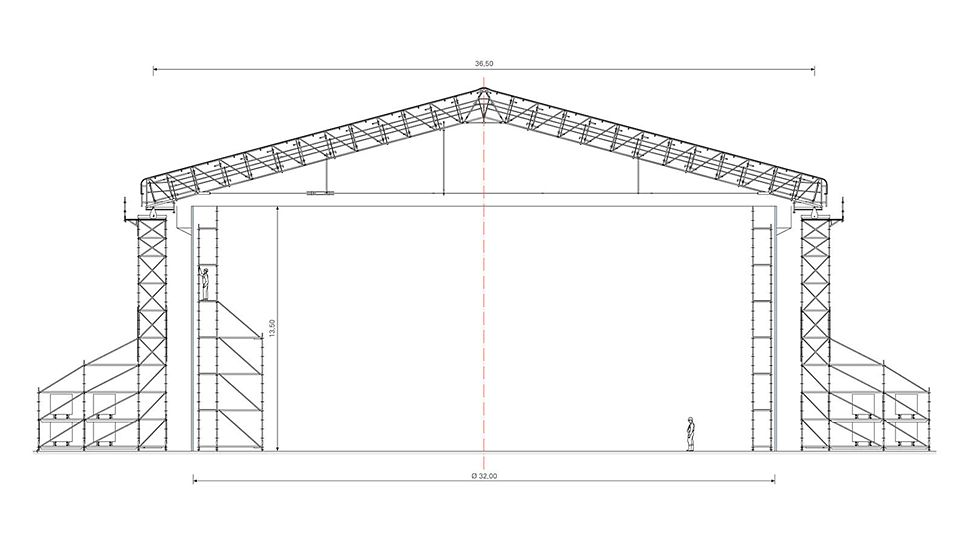 The PERI scaffolding solution – weather protection roof, support and interior scaffolding – was executed freestanding without any anchoring.