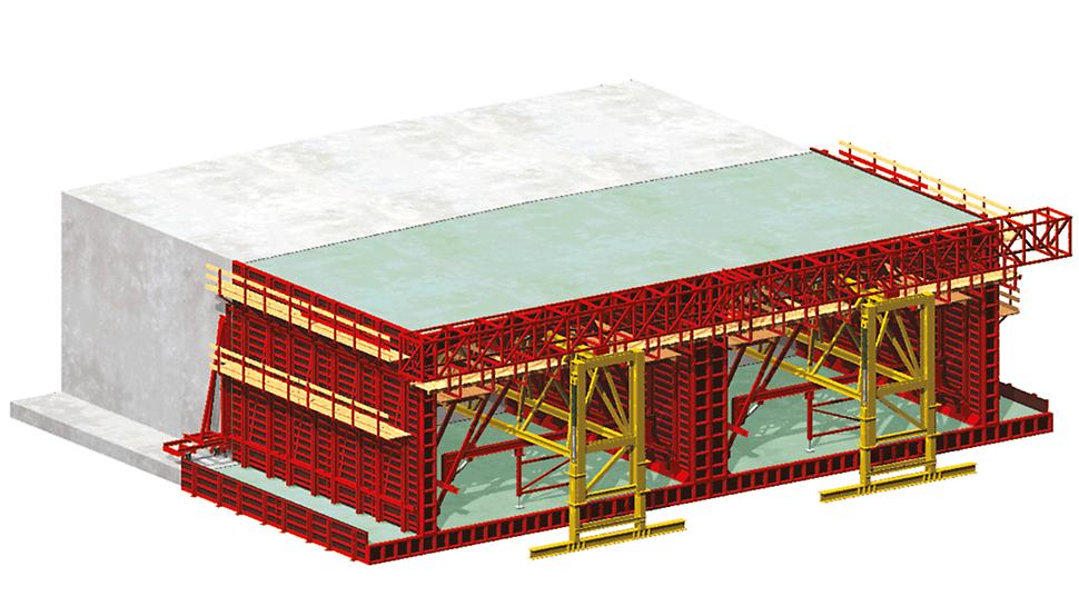 VARIOKIT Système de construction - Diagramme d'un tunnel monobloc à ciel ouvert – Variante 1