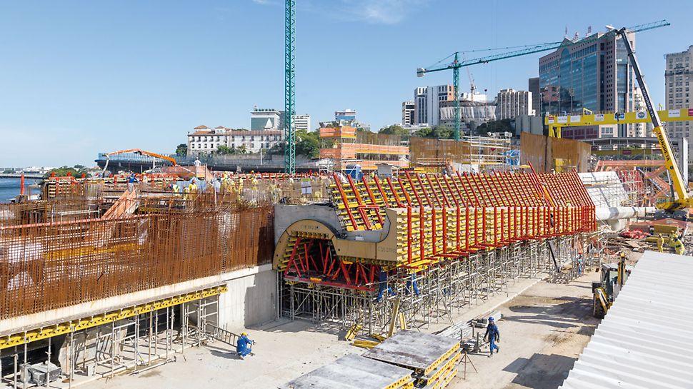 Muzeum zítřka, Rio de Janeiro, Brazílie: Pro vytvoření složitého tvaru muzea, bylo vyprojektováno, zhotoveno a na stavbu dodáno více než 3 500 atypických dílů bednění.