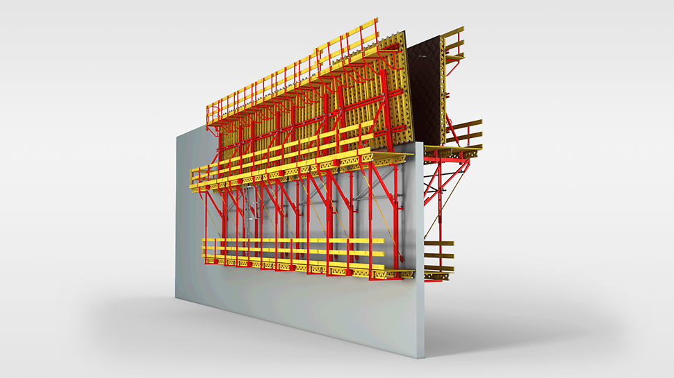 For the CB 160 climbing formwork, the formwork element (holding formwork) is inclined  backwards for striking.