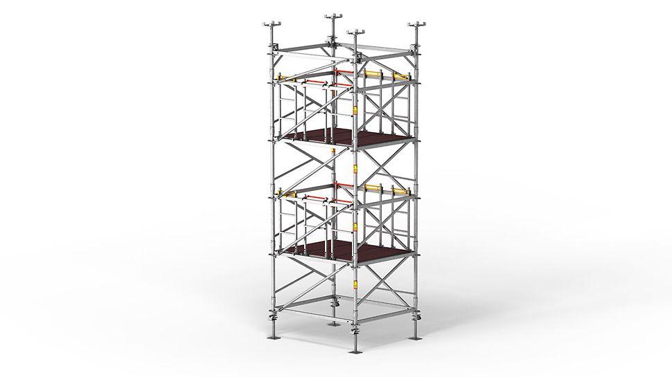 Asamblarea și nivelele de lucru ale turnurilor de eșafodaj PERI UP Flex MDS oferă condiții sigure de lucru în orice moment.