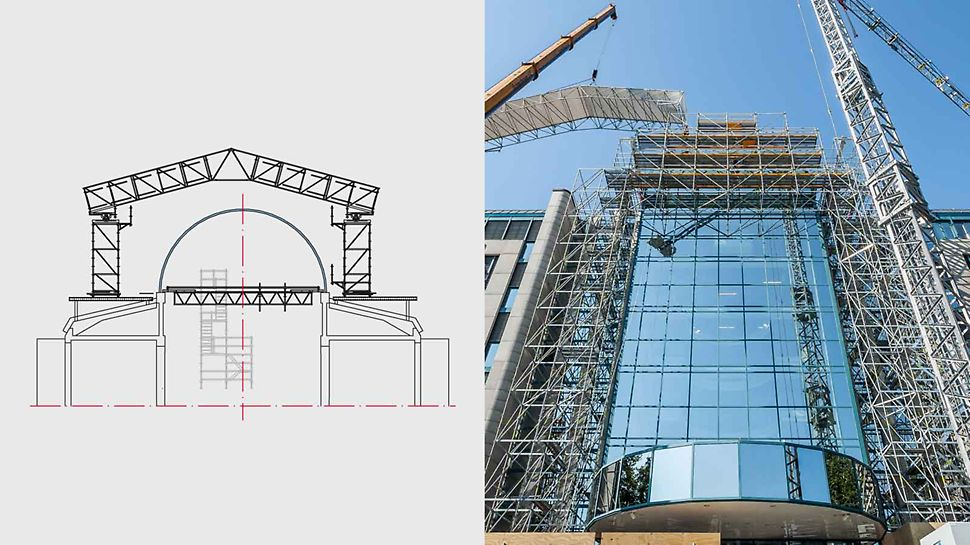 Zur Sanierung einer Glaskuppel plante PERI eine 64 m lange PERI UP Plattform in 23 m Höhe. Ein Wetterschutzdach über der Kuppel ermöglicht witterungsunabhängiges Arbeiten.