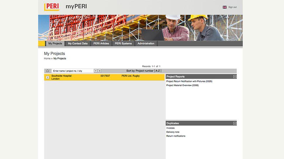 myPERI skärmdump över projektöversiktens