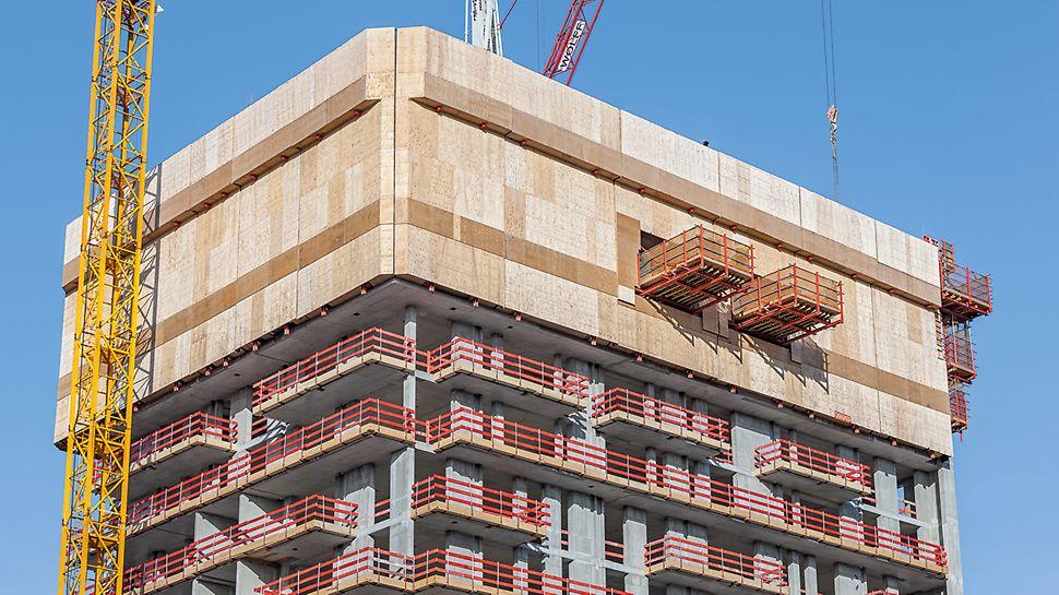Henninger Turm, Frankfurt am Main: Die oberen Ausfahrbühnen waren in die RCS Einhausung integriert und kletterten mit der Schutzwandeinheit kranunabhängig in den jeweils nächsten Abschnitt. In den darunter liegenden Stockwerken dienten kranversetzbare Ausfahrbühnen RCS MP als temporäre Lagerfläche für den Krantransport.