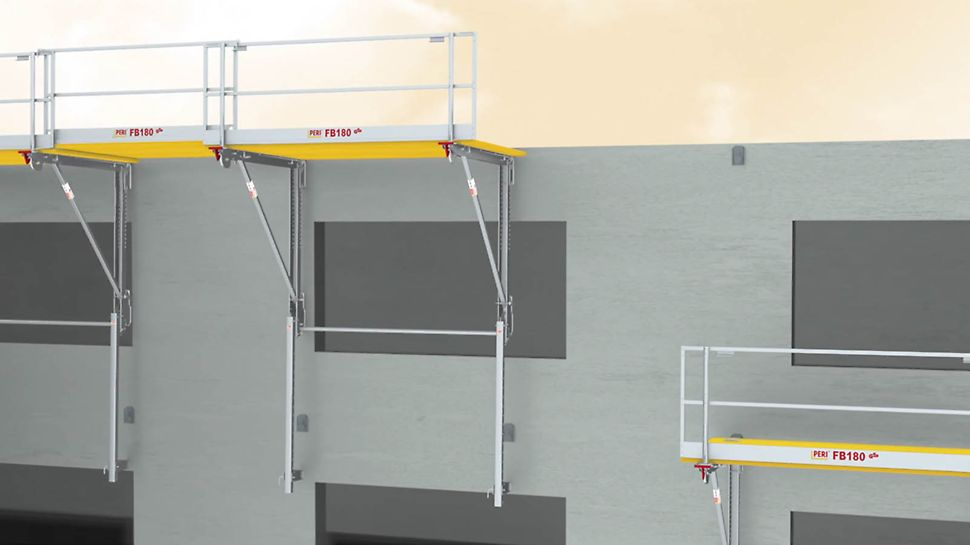 The universal platform for working and safety scaffold application as wall formwork support.
